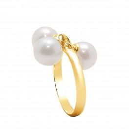 Bague en Or jaune 750 Millièmes et Véritables Perles de Culture d'Eau Douce Rondes de 7 mm.