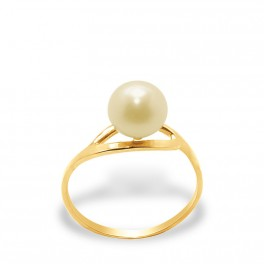 """Bague en Or Blanc 750 Millièmes et Véritable Perle de Culture d'Eau Douce Colori """"GOLD PRESTIGE"""" Ronde de 7 mm."""