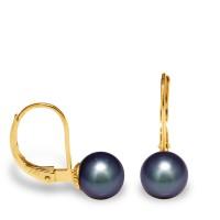 """Boucles d'Oreilles en Or et Véritables Perles de Culture d'Eau Douce Rondes Colori """"BLACK TAHITI"""" de 7-8 mm."""