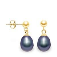 """Boucles d'Oreilles en Or Jaune et Véritables Perles de Culture d'Eau  Douce Poires Colori """"BLACK TAHITI"""" de 8-9 mm."""