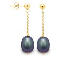 """Boucles d'Oreilles en Or Jaune et Véritables Perles de Culture d'Eau  Douce Poires Colori """"BLACK TAHITI"""" de 6-7 mm."""