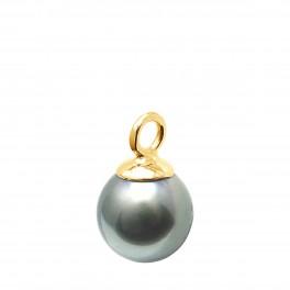 Pendentif en Or 750 Millièmes et Véritable Perle de Culture de Tahiti Poire de 9 mm.