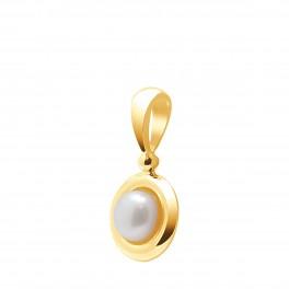 Pendentif en Or Jaune 750 Millièmes et Véritable Perle de Culture d'Eau Douce Ronde de 7 mm.