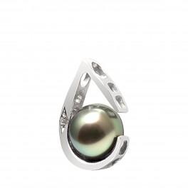 Pendentif en Or 750 Millièmes ,Diamants et Véritable Perle de Culture d'Eau Douce Ronde de 8 mm.