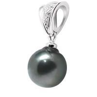 Pendentif en Or 750 Millièmes ,Diamants et Véritable Perle de Culture d'Eau Douce Poire de 11 mm.