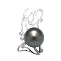 Pendentif en Or 750 Millièmes ,Diamants et Véritable Perle de Culture d'Eau Douce Ronde de 9 mm.