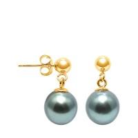 Boucles d'Oreilles en Or Jaune 750 Millièmes et Véritables Perles de Culture de Tahiti Poires de 9 mm.