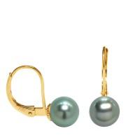 Boucles d'Oreilles en Or 750 Millièmes et Véritables Perles de Culture de Tahiti Rondes de 8 mm.