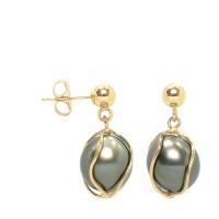 Boucles d'Oreilles en Or 750 Millièmes et Véritables Perles de Culture de Tahiti Poires de 8 mm.