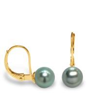 Boucles d'Oreilles en Or 375 Millièmes et Véritables Perles de Culture de Tahiti Rondes de 9 mm.