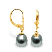 Boucles d'Oreilles en Or 375 Millièmes et Véritables Perles de Culture de Tahiti Poires de 9 mm.