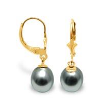 Boucles d'Oreilles en Or 375 Millièmes et Véritables Perles de Culture de Tahiti Poires de 10 mm.