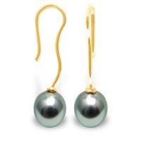 Boucles d'Oreilles en Or 375 Millièmes et Véritables Perles de Culture de Tahiti Poires de 8 mm.