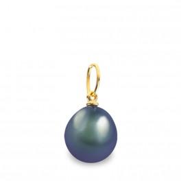 """Pendentif en Or Jaune 375 Millièmes et Véritable Perle de Culture d'Eau Douce colori """"BLACK TAHITI"""" Poire de 7 mm."""