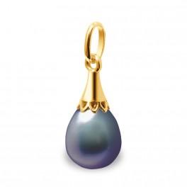 """Pendentif en Or 375 Millièmes et Véritable Perle de Culture d'Eau Douce colori """"BLACK TAHITI"""" Poire de 8 mm."""