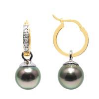 Boucles d'oreilles en Or 750 Millièmes ,Diamants et Véritables Perles de Culture de Tahiti Rondes de 9 mm.