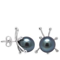 Boucles d'oreilles en Or 750 Millièmes ,Diamants et Véritables Perles de Culture de Tahiti Rondes de 10 mm.