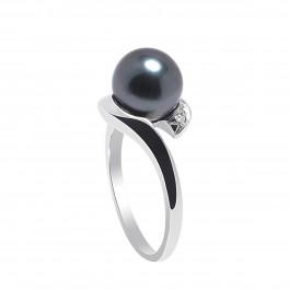 Bague en Or Blanc 750 Millièmes,Diamants et Véritables Perles de Culture de Tahiti Rondes de 8 mm.