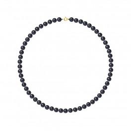 Collier Rang - Perles Rondes 6-7 mm - Qualité AA - Anneau Ressort Or 750 Millièmes