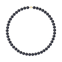 Collier Rang - Perles Rondes 8-9 mm - Qualité AA - Anneau Ressort Or 750 Millièmes
