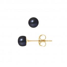 Boucles d'Oreilles – Perles Boutons 5-6 mm  - Qualité AA - Système Poussettes - Or 750 Millièmes