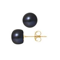 Boucles d'Oreilles – Perles Boutons 8-9 mm  - Qualité AA - Système Poussettes - Or 750 Millièmes
