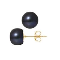 Boucles d'Oreilles – Perles Boutons 9-10 mm  - Qualité AA - Système Poussettes - Or 750 Millièmes
