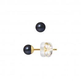 Boucles d'Oreilles – Perles Rondes 4.5-5 mm  - Qualité AA - Système Poussettes Siliconor Or 750 Millièmes
