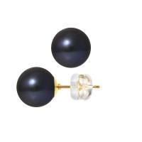 Boucles d'Oreilles – Perles Rondes 9-9.5 mm  - Qualité AA - Système Poussettes Siliconor Or 750 Millièmes