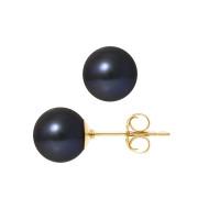 Boucles d'Oreilles – Perles Rondes 8-8.5 mm  - Qualité AA - Système Poussettes (GM) - Or 750 Millièmes