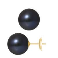 Boucles d'Oreilles – Perles Rondes 12 mm  - Qualité AA - Système Poussettes Sécurisée (GM) Or 750 Millièmes