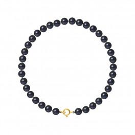 Bracelet Rang - Perles Rondes 5-6 mm - Qualité AA - Anneau Ressort Or 750 Millièmes