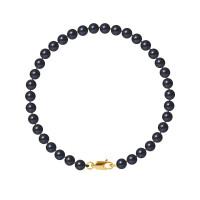 Bracelet Rang - Perles Rondes 5-6 mm - Qualité AA - Mousqueton Or 750 Millièmes