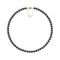 Collier Rang - Perles Rondes 6-7 mm - Qualité AA - Fermoir Boule Striée + Chaine de Sécurité Or 750 Millièmes