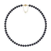 Collier Rang - Perles Rondes 7-8 mm - Qualité AA - Fermoir Boule Striée + Chaine de Sécurité Or 750 Millièmes