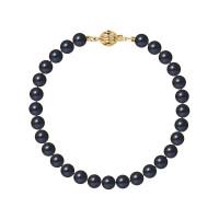Bracelet Rang - Perles Rondes 6-7 mm - Qualité AA - Fermoir Boule Striée Or 750 Millièmes