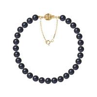 Bracelet Rang - Perles Rondes 6-7 mm - Qualité AA - Fermoir Boule Striée + Chaine de Sécurité Or 750 Millièmes