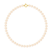 Collier Rang - Perles Rondes 8-9 mm - Qualité AA - Fermoir Anneau Marin MM Or 750 Millièmes