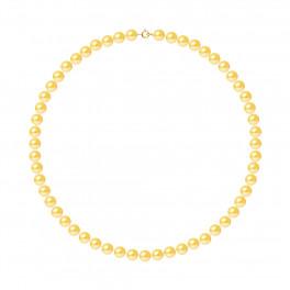 Collier Rang - Perles Rondes 7-8 mm - Qualité AA - Anneau Ressort Or 750 Millièmes