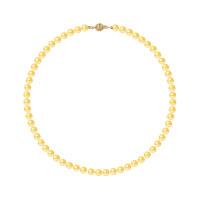 Collier Rang - Perles Rondes 6-7 mm - Qualité AA - Fermoir Boule Striée Or 750 Millièmes