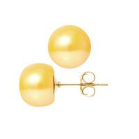 Boucles d'Oreilles – Perles Boutons 10-11 mm  - Qualité AA - Système Poussettes - Or 750 Millièmes