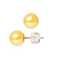 Boucles d'Oreilles – Perles Rondes 8.5-9 mm  - Qualité AA - Système Poussettes Siliconor Or 750 Millièmes