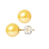 Boucles d'Oreilles – Perles Rondes 9.5-10 mm  - Qualité AA - Système Poussettes Siliconor Or 750 Millièmes