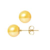 Boucles d'Oreilles – Perles Rondes 8.5-9 mm  - Qualité AA - Système Poussettes (GM) - Or 750 Millièmes