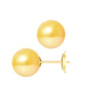 Boucles d'Oreilles – Perles Rondes 9.5-10 mm  - Qualité AA - Système Poussettes Sécurisée (PM) Or 750 Millièmes