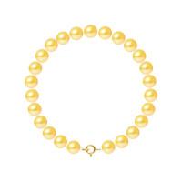 Bracelet Rang - Perles Rondes 7-8 mm - Qualité AA - Anneau Ressort Or 750 Millièmes