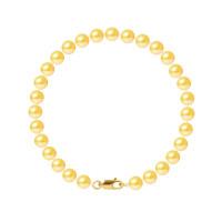 Bracelet Rang - Perles Rondes 6-7 mm - Qualité AA - Mousqueton Or 750 Millièmes