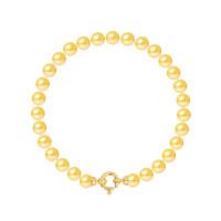 Bracelet Rang - Perles Rondes 6-7 mm - Qualité AA - Fermoir Anneau Marin PM Or 750 Millièmes