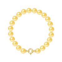 Bracelet Rang - Perles Rondes 8-9 mm - Qualité AA - Fermoir Anneau Marin PM Or 750 Millièmes