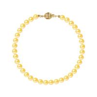 Bracelet Rang - Perles Rondes 5-6 mm - Qualité AA - Fermoir Boule Striée Or 750 Millièmes